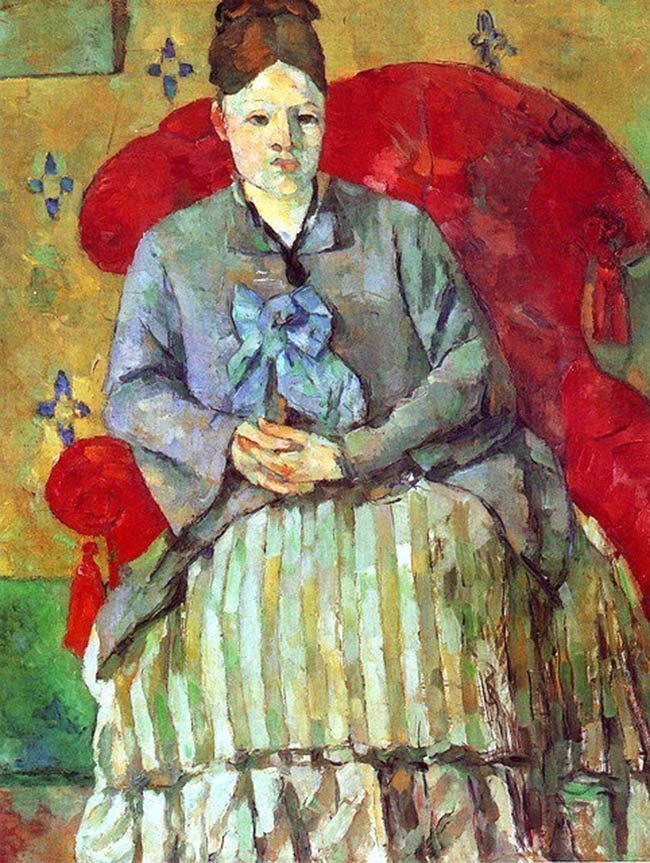 Paul Cezanne Painting 1 Paul Cezanne (1839-1906) Madame Cezanne Marie Hortense Fiquet in a Striped Skirt 1877 (2)