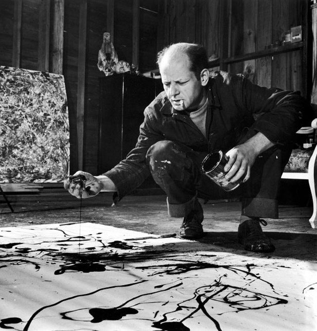 Jackson-Pollock-slop-painting-with-cigarette