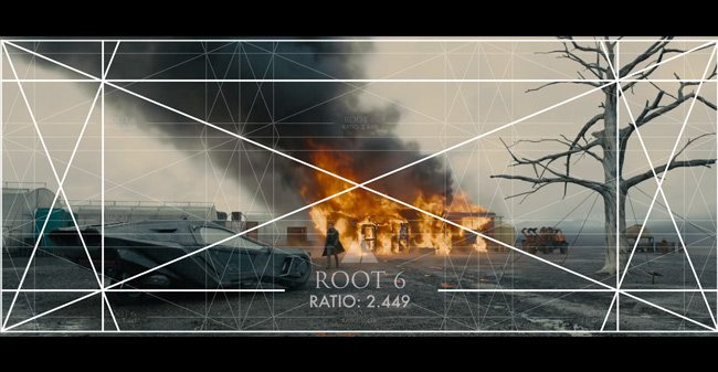 Mastering-Composition-with-Bladerunner-2049-trailer-analyzed-cinema-with-root-6-theme-3x-grid-car-flames-tree
