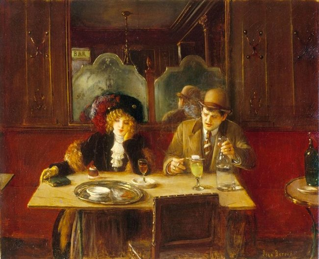 Mastering Composition with Absinthe Paintings006absinthe cafe jean beraud 1909