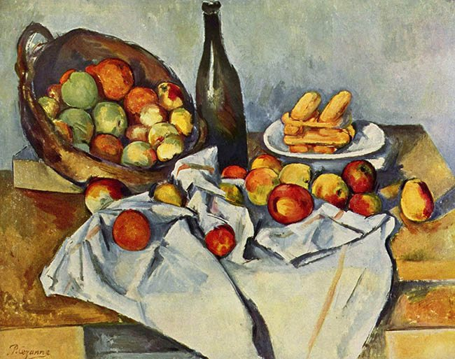Law of SImiliarity-Gestalt psychology-Cezanne-still-life-with-bottle-and-apple-basket-1894