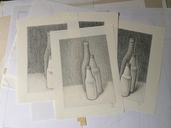 dynamic symmetry used for drawing-Bottle-barnstone-glover-three drawings