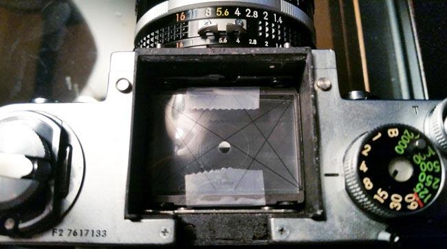 Dynamic-symmetry-grid-in-film-camera-Nikon-F2-grid-on-ground-glass-2