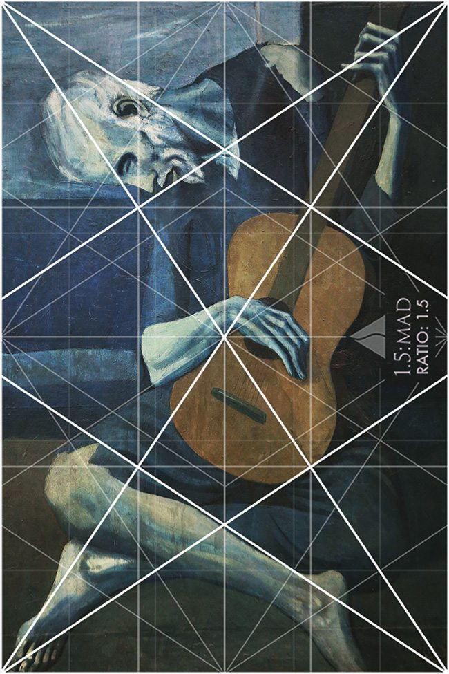 Mastering Composition - Henri Cartier-Bresson using Dynamic Symmetry - Proof-031-Picasso with 1.5 grid